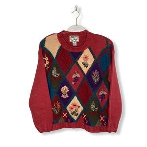 Heirloom Collectibles Red Tone Knit Sweater Small